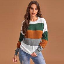 Pullover mit Farbblock, Streifen und sehr tief angesetzter Schulterpartie