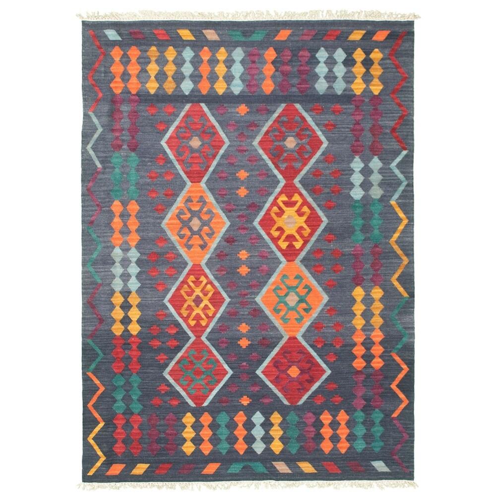 ECARPETGALLERY  Anatolian FW Wool Kilim - 6'10 x 9'11 (Dark Navy - 6'10 x 9'11)