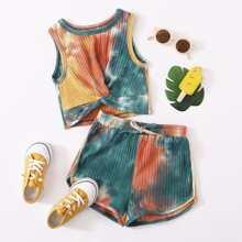 Girls Tie Dye Rib-knit Twist Hem Tank Top & Shorts Set