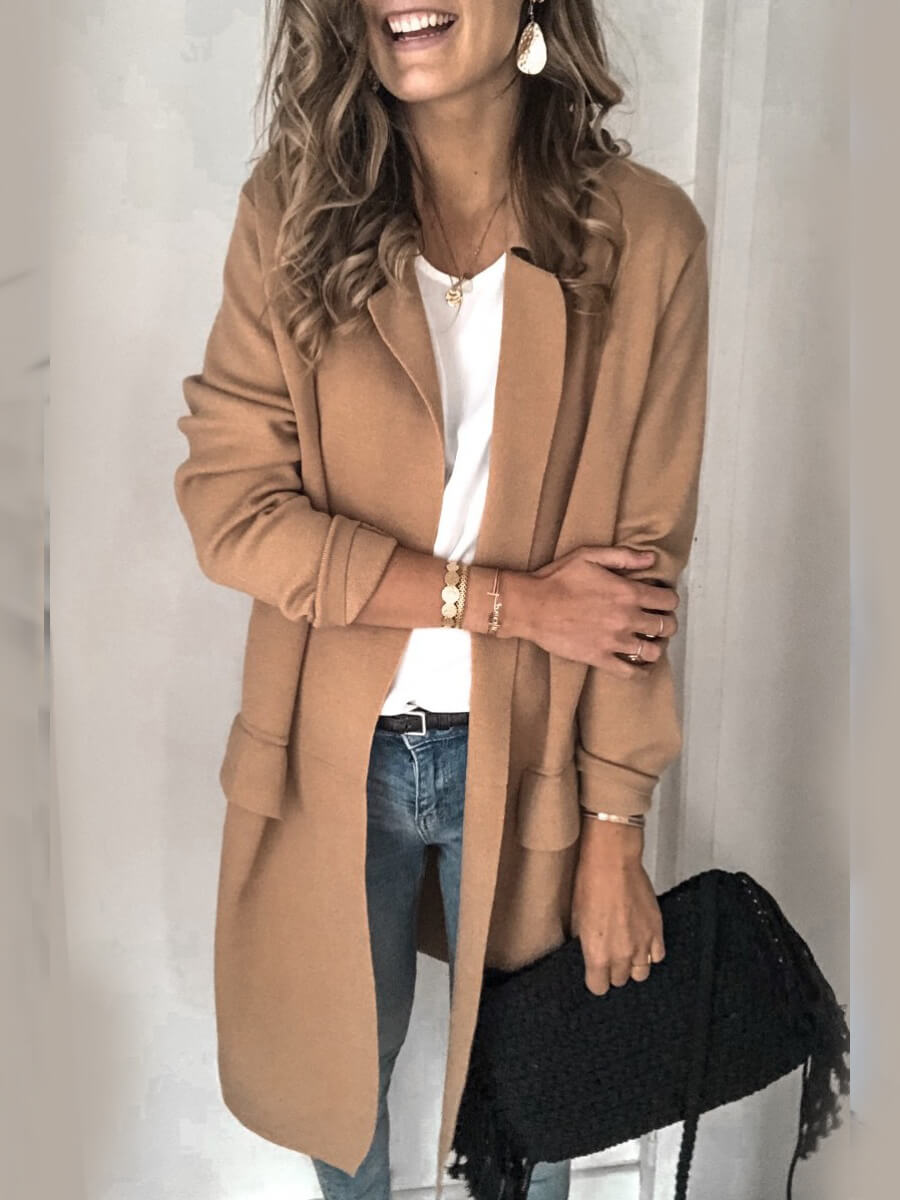 LW Lovely Casual Turn-back Collar Basic Khaki Coat