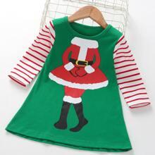 Vestido con estampado de rayas y navidad