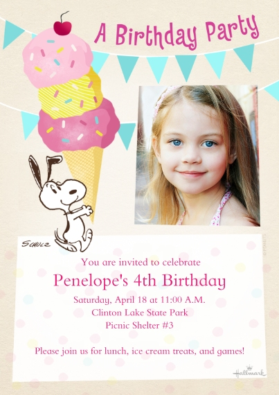 Kids Birthday Party Invites 5x7 Cards, Premium Cardstock 120lb with Rounded Corners, Card & Stationery -Snoopy With Ice Cream