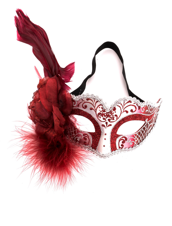 Kostuemzubehor Augenmaske rot/silber mit Blume und Feder
