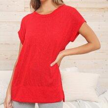 Short Sleeve Split Side Knit Top