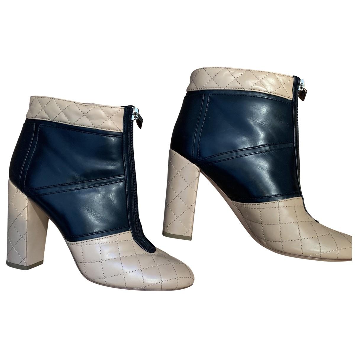 Chanel - Boots   pour femme en cuir - beige