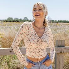 Ditsy Floral Drawstring Ruched Crop Tee