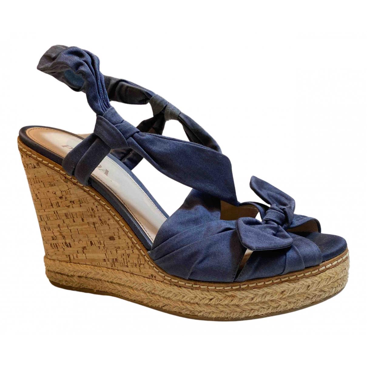Prada N Blue Cloth Sandals for Women 40 EU