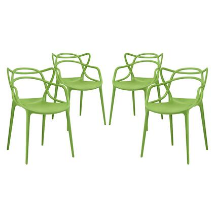 Entangled Collection EEI-2348-GRN-SET Set of 4 Dining Chairs with Plastic Foot Guides  Modern Style and Molded Plastic Seat Construction in Green