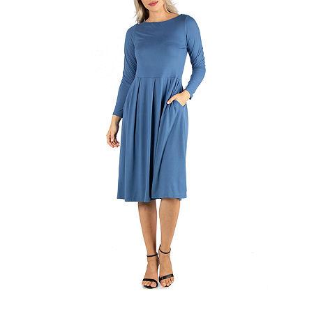 24/7 Comfort Apparel Midi Fit and Flare Dress, Medium , Blue