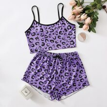 Allover Print Bow Front Cami Pajama Set