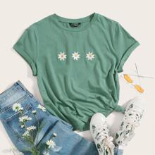 T-Shirt mit Blumen Stickereien