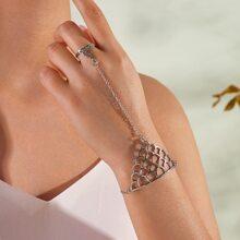 1pc Finger Ring Chain Bracelet