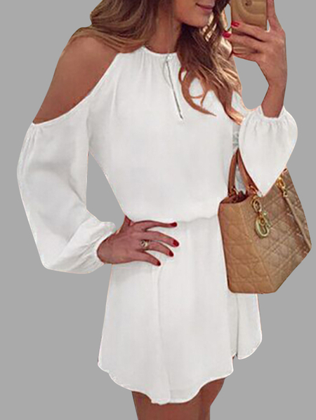 Yoins White Cold Shoulder Long Sleeves Cotton Dress with Open Back Design