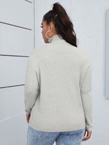 Plus High Neck Slit Hem Solid Sweater
