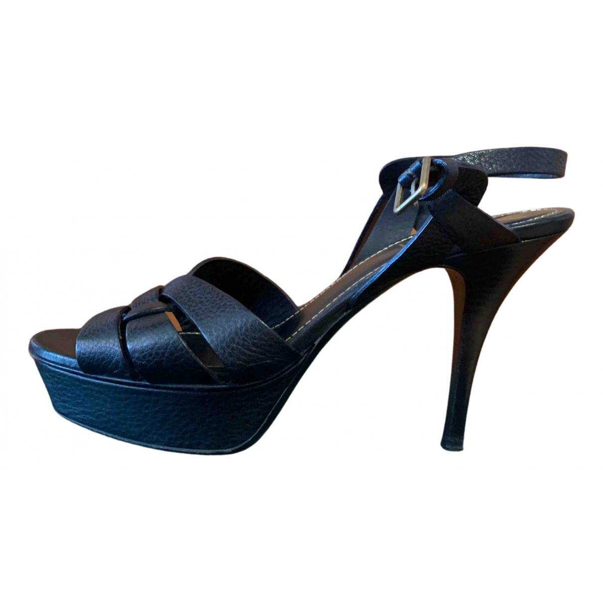 Yves Saint Laurent Tribute Black Leather Sandals for Women 39 EU