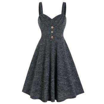 Mock Button High Waist Cami A Line Dress