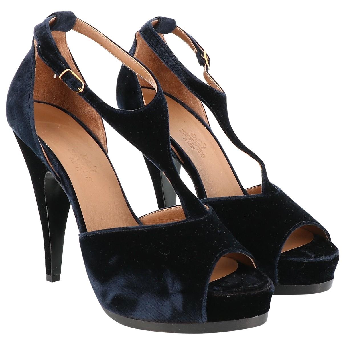 Hermes - Sandales   pour femme en velours - bleu