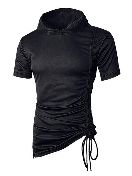 Milanoo Men T Shirt Casual Hooded Drawstring Ruched Irregular Short Sleeve T Shirt