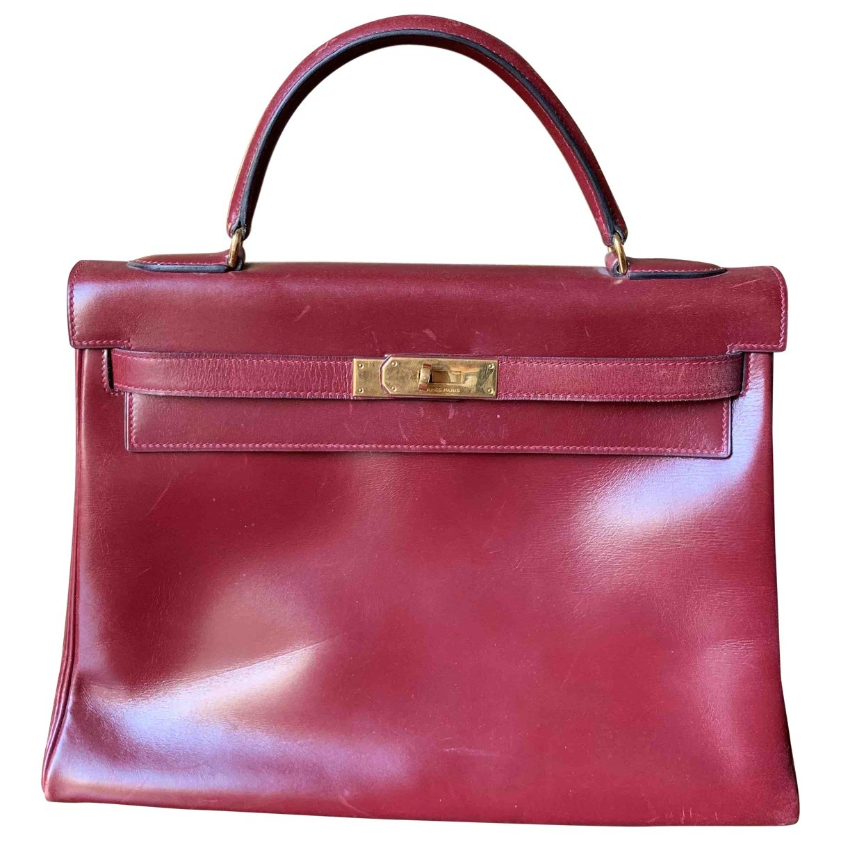 Hermès Kelly 32 Burgundy Leather handbag for Women \N