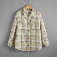 Plus Button Front Plaid Coat