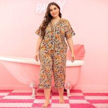 Schlafanzug Set mit Blumen Muster und Kontrast Bindung