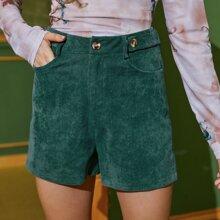 Corduroy Straight-Leg Shorts