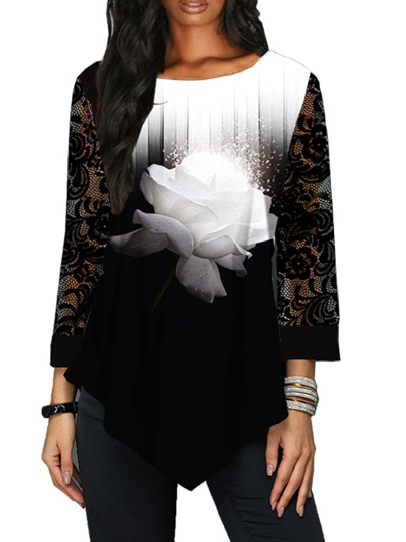 Ericdress Round Neck Mid-Length Plant Casual Loose Women's T-Shirt