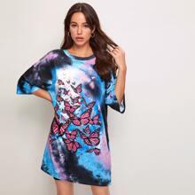 Tie Dye Butterfly Print Tee Dress