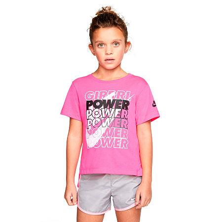 Nike Little Girls Short Sleeve T-Shirt, 6x , Pink