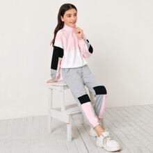 Pullover mit Raglan Ärmeln, Reissverschluss, halber Knopfleiste und Jogginghose Set