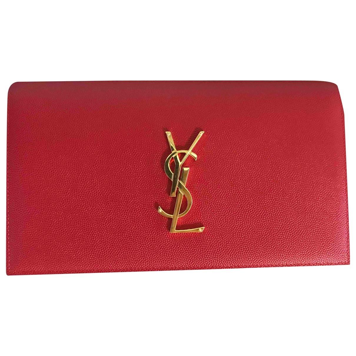 Saint Laurent - Pochette Kate monogramme pour femme en cuir - rouge