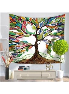 Artwork Colorful Leaves Tree of Life Pattern Decorative Hanging Wall Tapestry