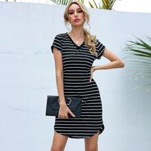 Striped V-neck Curved Hem Tee Dress