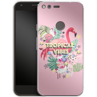 Google Pixel Silikon Handyhuelle - Flamingo Solo von Mukta Lata Barua