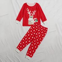 Toddler Girls Christmas Print PJ Set