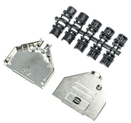 HARTING Metal D-sub Connector Backshell, 25 Way, Silver