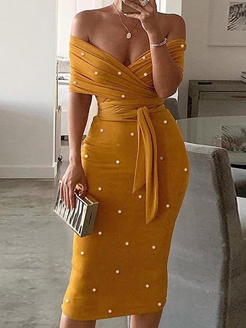 Ericdress Short Sleeve Bead Mid-Calf Bodycon Summer Dress