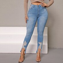 Curvy High-Waisted Ripped Skinny Jeans