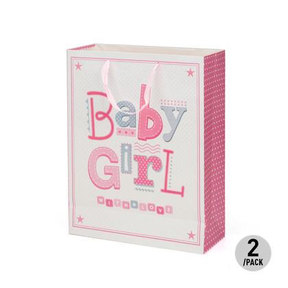 Baby Girl Gift Bag Present Bag for Birthdays, Baptism, Christenings, 2Pcs - LIVINGbasics™ - Large