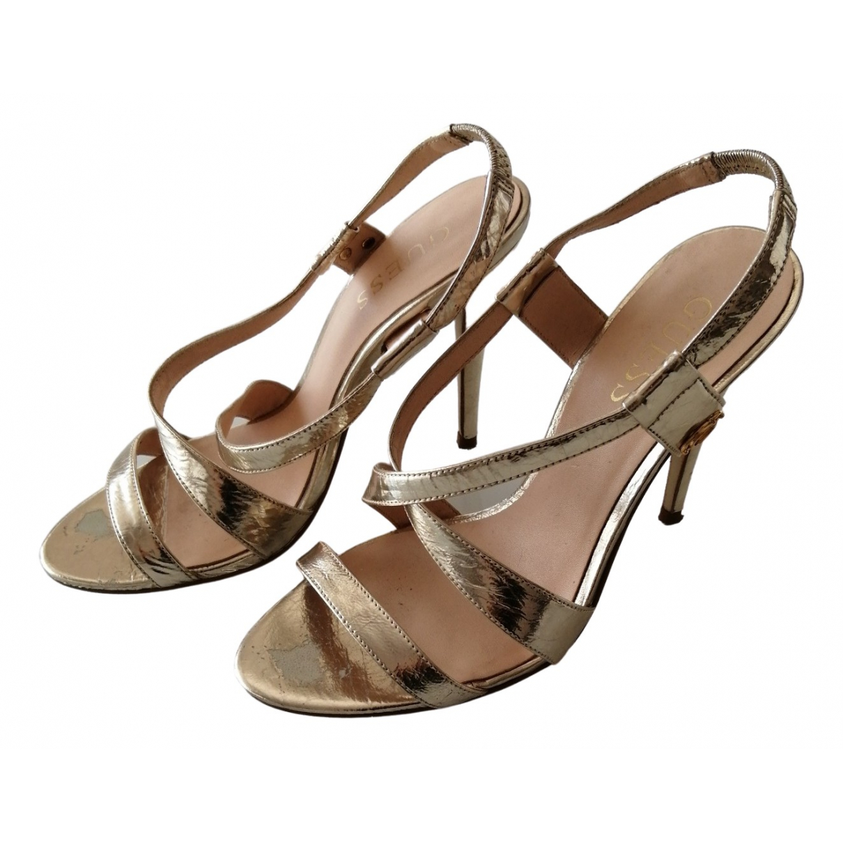 Guess \N Gold Leather Sandals for Women 36 EU