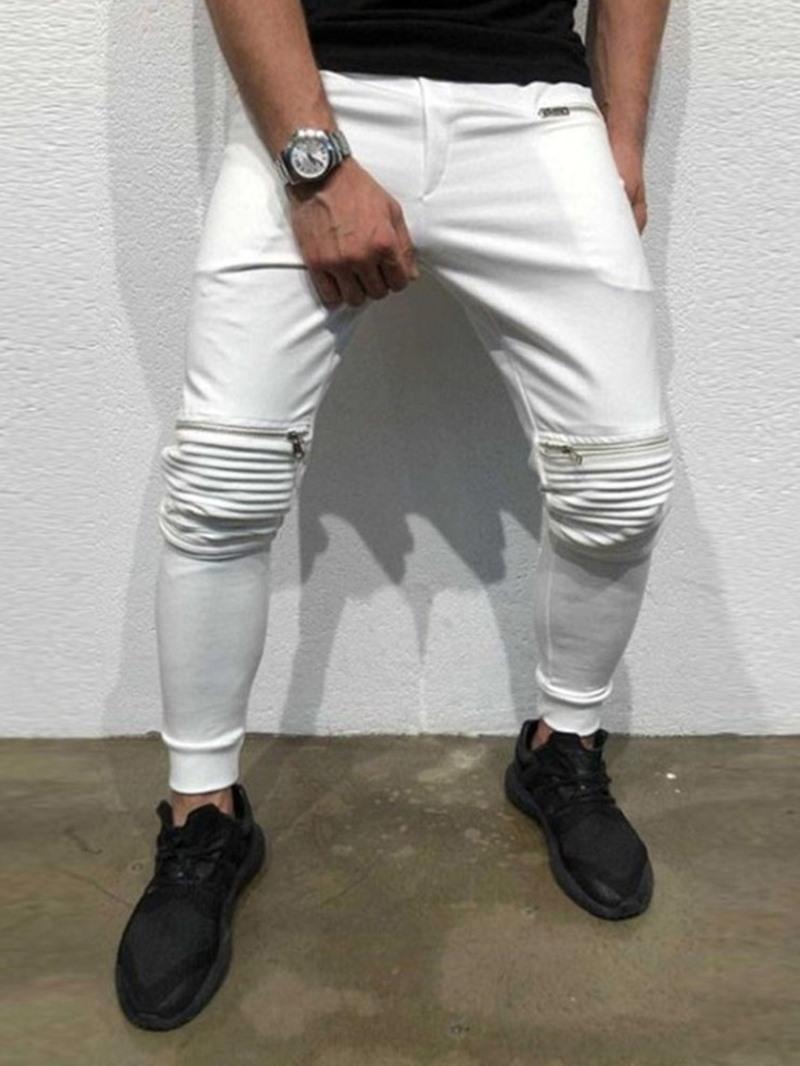 Ericdress Zipper Pencil Pants Plain Mid Waist Casual Pants