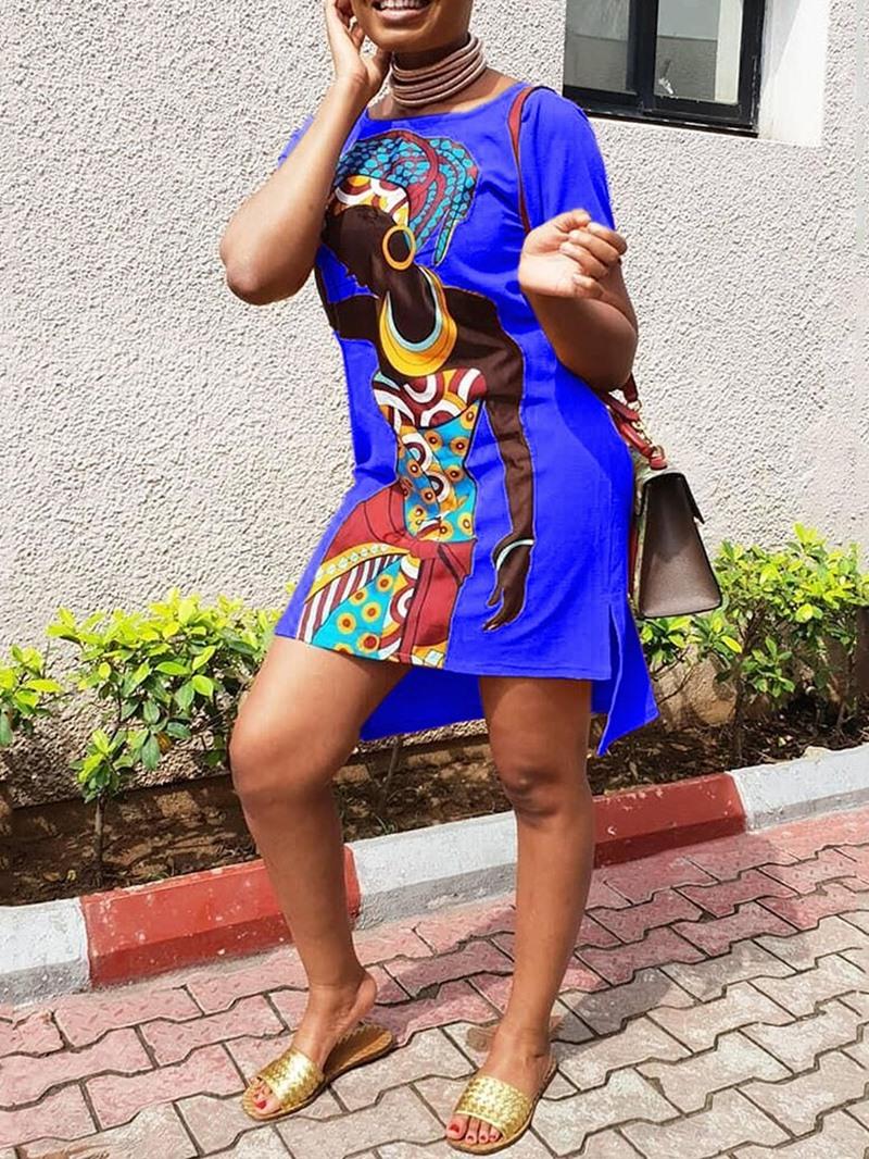 Ericdress African Fashion Short Sleeve Asymmetric Regular Dress