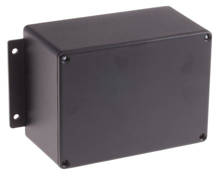 RS PRO Black Die Cast Aluminium Enclosure, IP66, Shielded, Flanged, 168.7 x 101.6 x 76.5mm