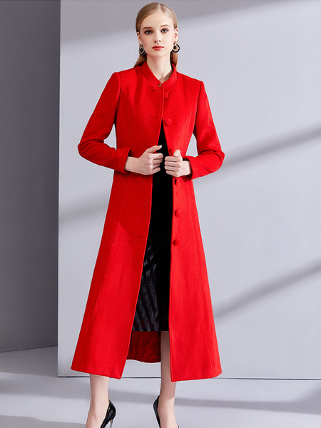 Milanoo Red Winter Coat Long Sleeve Stand Collar Womens Wool Coats