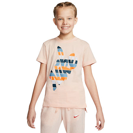 Nike Big Girls Round Neck Short Sleeve Graphic T-Shirt, X-large , Pink