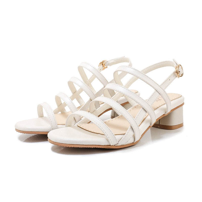 Ericdress Block Heel Open Toe Buckle Hollow Sandals