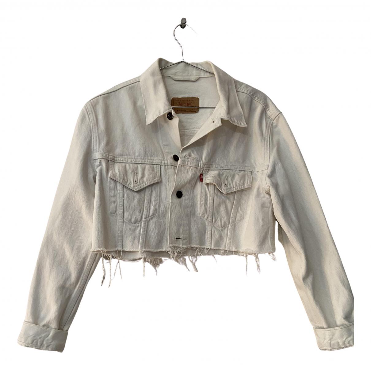 Levis - Veste   pour femme en coton - blanc