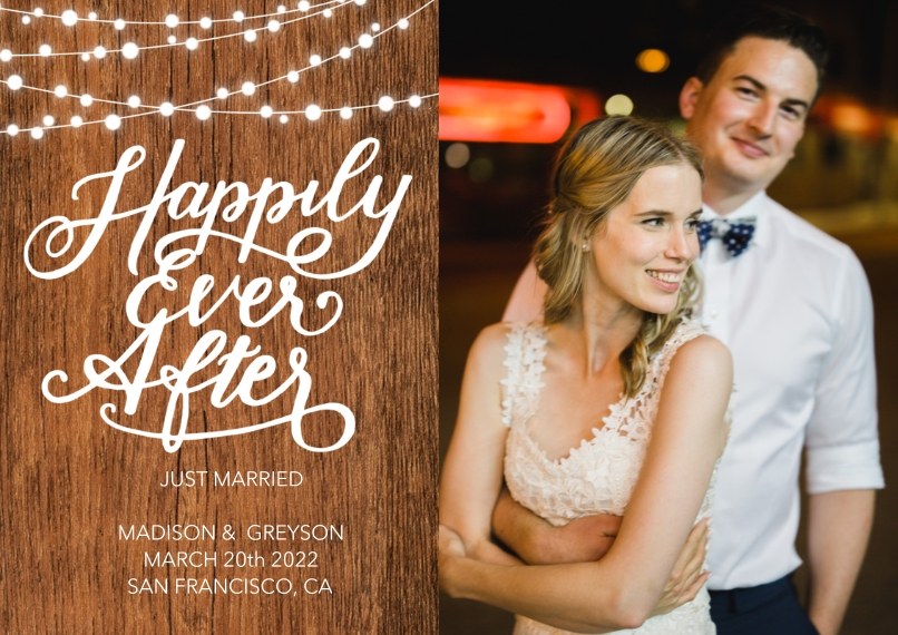 Just Married 5x7 Cards, Premium Cardstock 120lb with Elegant Corners, Card & Stationery -Wedding Just Married Rustic Lights by Tumbalina