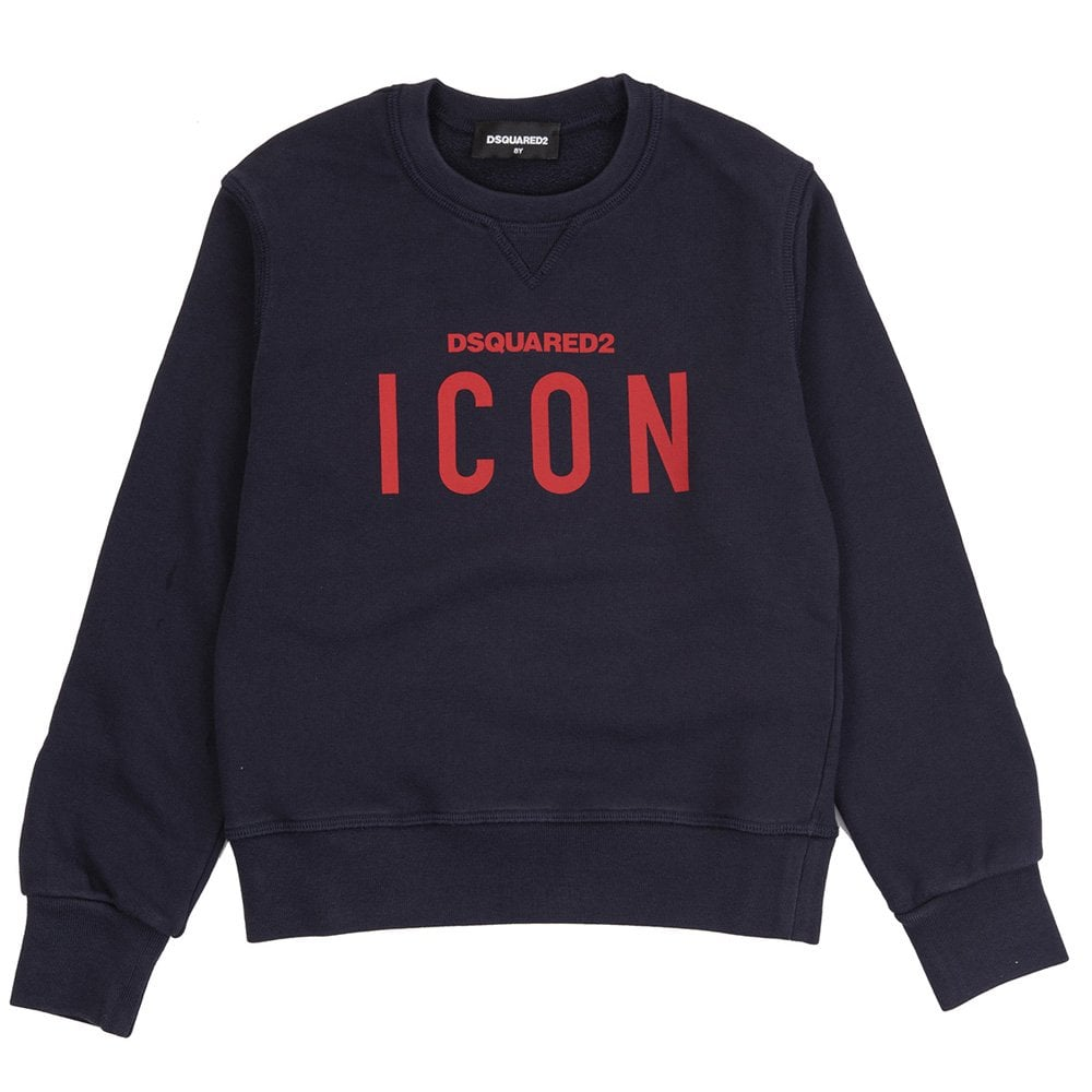 DSquared2 Kids Contrasting ICON Sweatshirt Colour: NAVY, Size: 10 YEARS