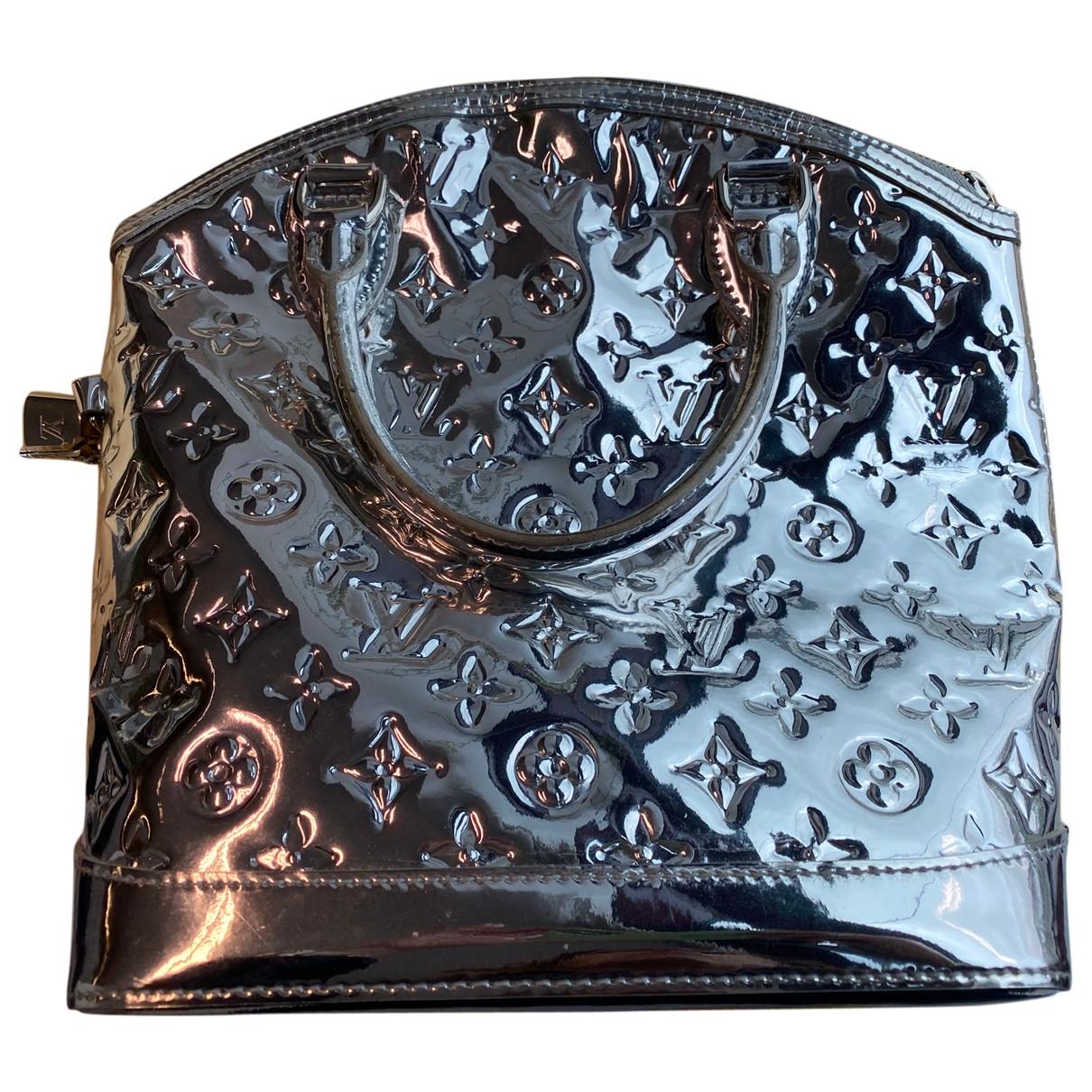 Louis Vuitton - Sac a main Lockit pour femme en cuir verni - argente